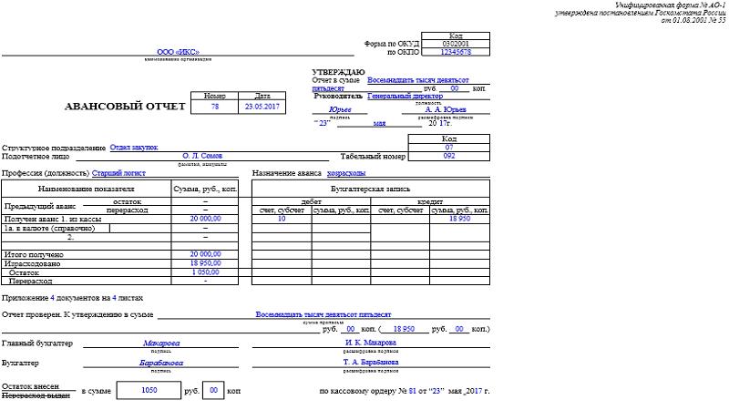 бланк авансового отчета форма по ОКУД 0504505