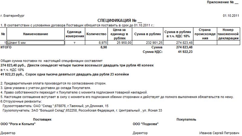спецификация к договору поставки образец