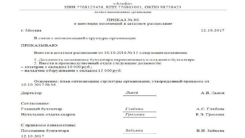 приказ об изменении штатного расписания