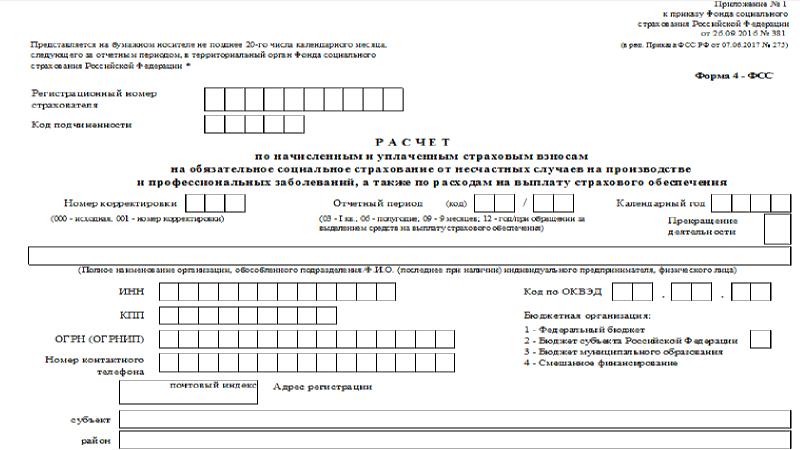 ФСС 4 порядок заполнения